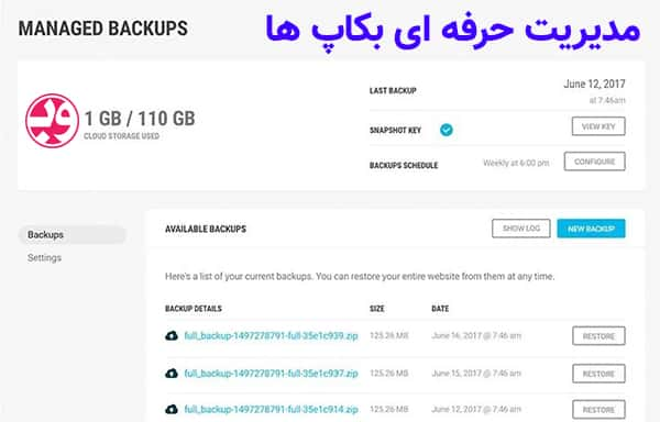 افزونه Snapshot Pro مدیریت بکاپ سایت وردپرس