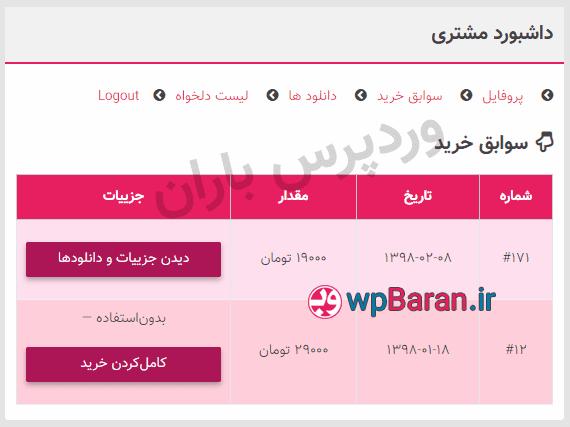 افزونه EDD Customer Dashboard فارسی - پنل کاربری EDD