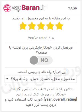 علامت ستاره در سرچ گوگل با امتیاز کلی افزونه Yet Another Stars Rating